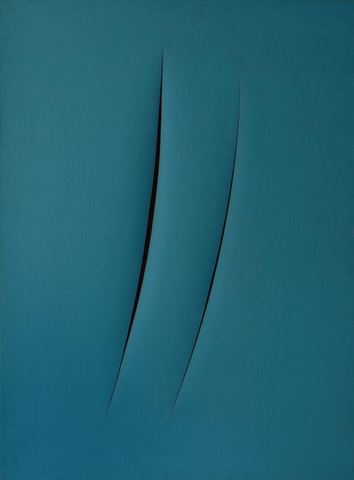 Lucio_Fontana_Concetto_spaziale_attese_1960_idropittura_su_tela_blu_80__x_60_cm_60T85_fronte